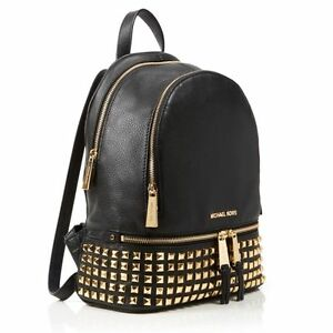 86ef8442de Michael Kors Rhea Medium Studded Leather Backpack 30s5gezb5l Black ...