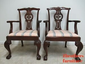 2-Baker-Furniture-Mahogany-Ball-Claw-Chippendale-Dining-Room-Arm-Chairs
