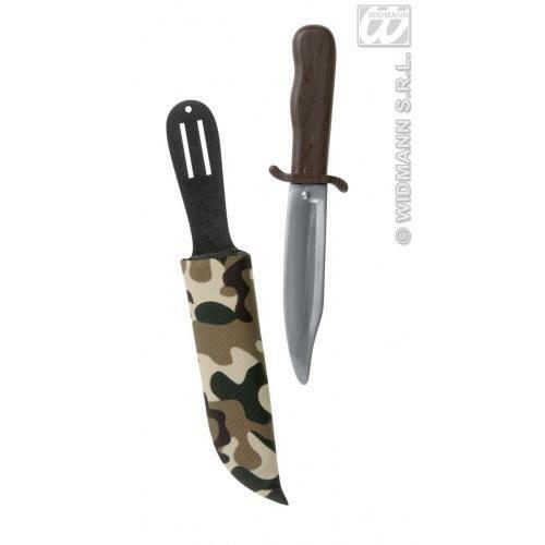 Rambo Dagger With Camouflage Sheath Holder Army Fancy Dress Prop Weapon