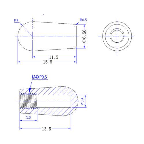 10 Stück Kunststoff 3 Wege Kippschalter Knopf 4mm für E Gitarre