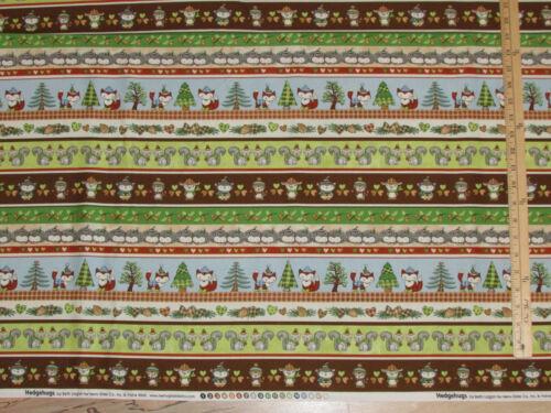 Hedge Hugs Hedgehog Owl Fox Raccoon Squirrel Stripes Fabric by the 1//2 yd #9840