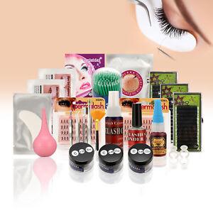 Details about Eyelash Extension Kit , False Individual Lash Eye Patch Brush  Swab Glue Air Pump