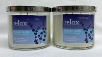 2 Bath Body Works Relax Lavender Vanilla Aromatherapy 3-wick Candle