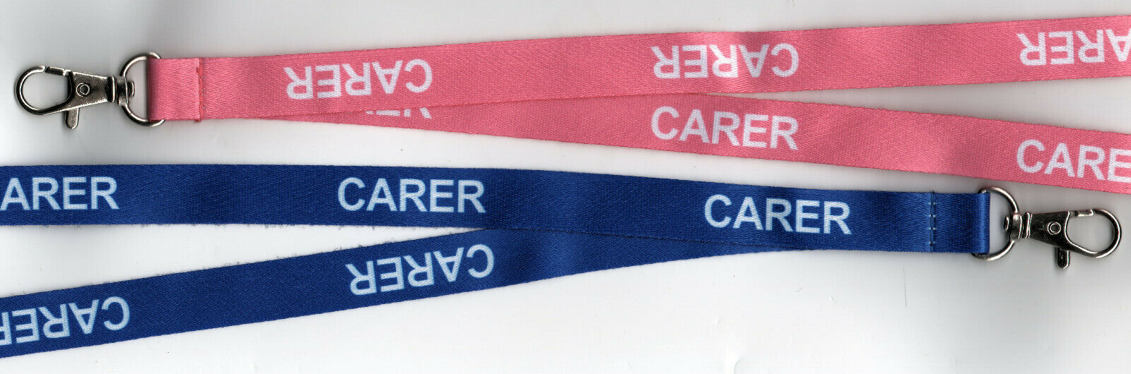1 CARER Blue or Pink Printed Caring Safety Lanyard with Breakaway Clip FREE UKPP