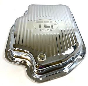 SB Chevy Turbo TH400 Chrome Automatic Transmission Pan with Drain Plug TCI Logo
