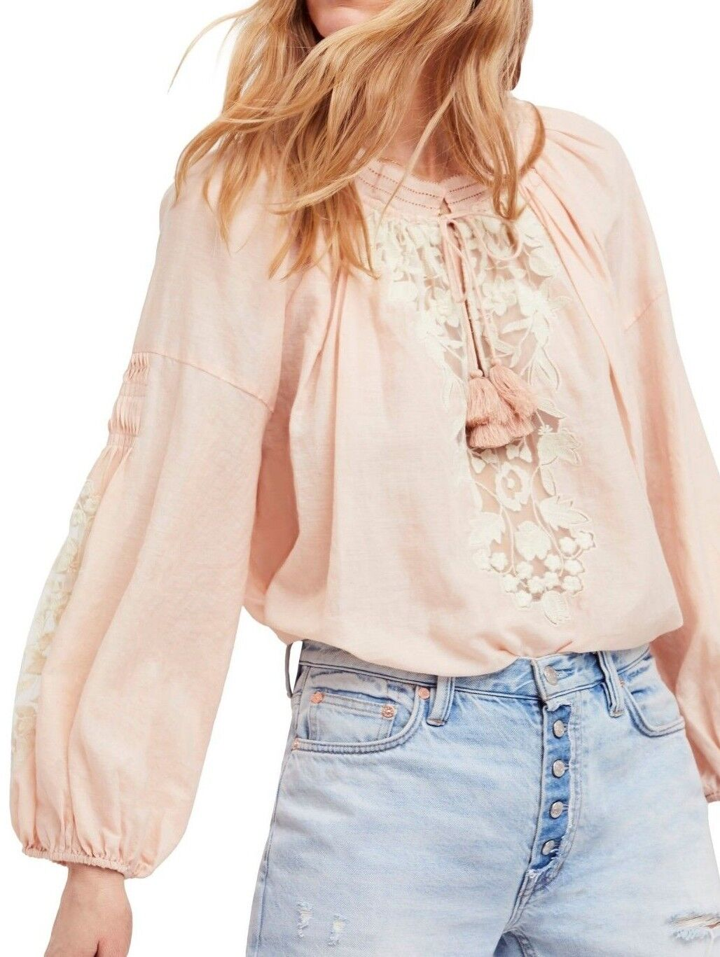 NWT FREE PEOPLE SzXS SHIMLA EMBROIDErot LACE PANELS LONG SLEEVE TOP PEACH