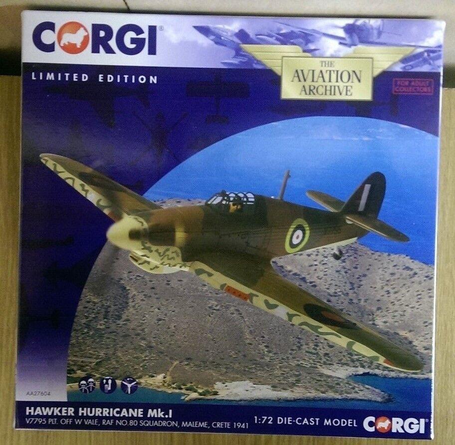 CORGI AA27604 Hurricane Mk.1 RAF No.80 Sqn Maleme Crète 1941 LTD ED 1378 de 1400