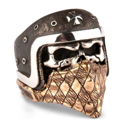 Ring Mens Biker Skull sterling silver Rock Tattoo Premium handmade jewelry 925