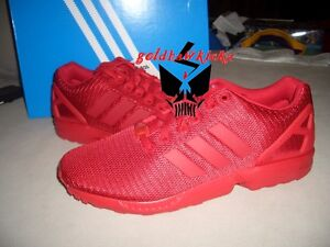 4b465d8c77ef8 adidas Originals ZX FLUX Triple RED Mens Running Shoes Sneakers ...