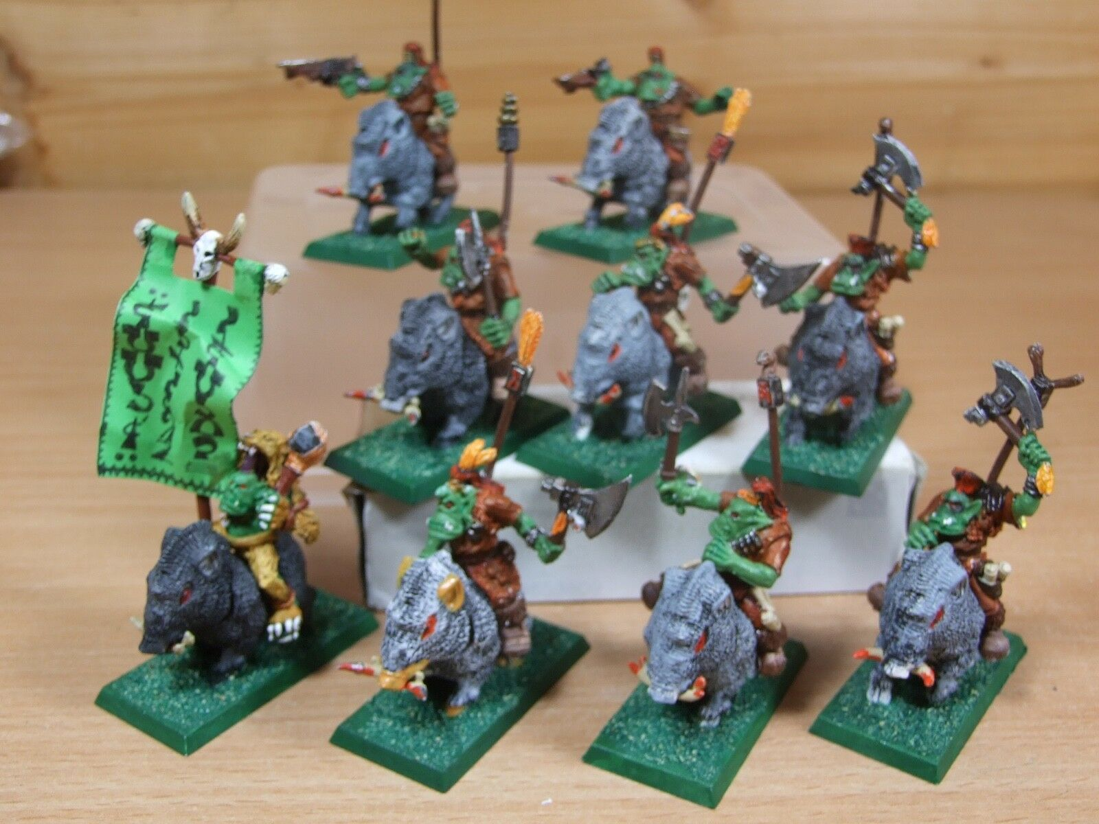 9 CLASSIC METAL WARHAMMER SAVAGE ORC BOAR BOYZ PAINTED (402)