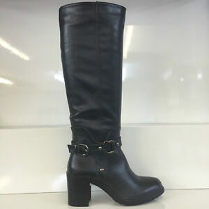 LADIES-WOMENS-BLACK-KNEE-HIGH-LEATHER-STYLE-MID-HEEL-BOOTS-SHOES-SIZE-7