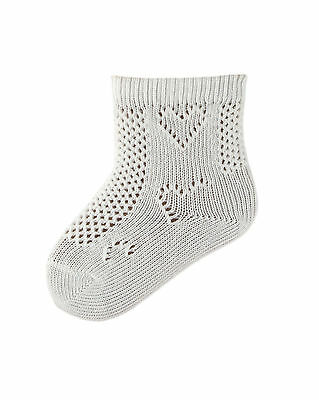 5 Pairs of Baby Girls White Cotton Pelerine 3//4 Length Socks with Heart Pattern