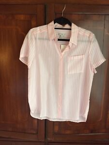 73e27ce641457a Image is loading J-Crew-Sheer-Short-Sleeve-Silk-Button-Down-