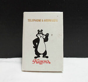 VINTAGE-RARE-HAMMS-BEER-SMALL-ADDRESS-BOOK-BEAR-WHITE-COLLECTIBLE-VERY-NICE