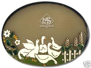 Keramikschild-Tuerschild-Gaense-mit-Blumen