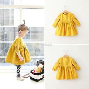 ... Spring-Princess-Dress-Kids-Girls-Long-Sleeve-Pleated-Bubble-Dress-2-7Y