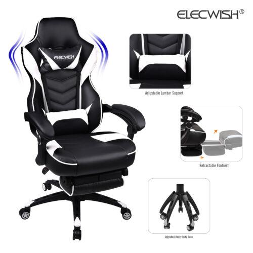 Massage Racing Gaming Stuhl Bürostuhl Chefsessel Drehstuhl mit Fußstütze 150Kg