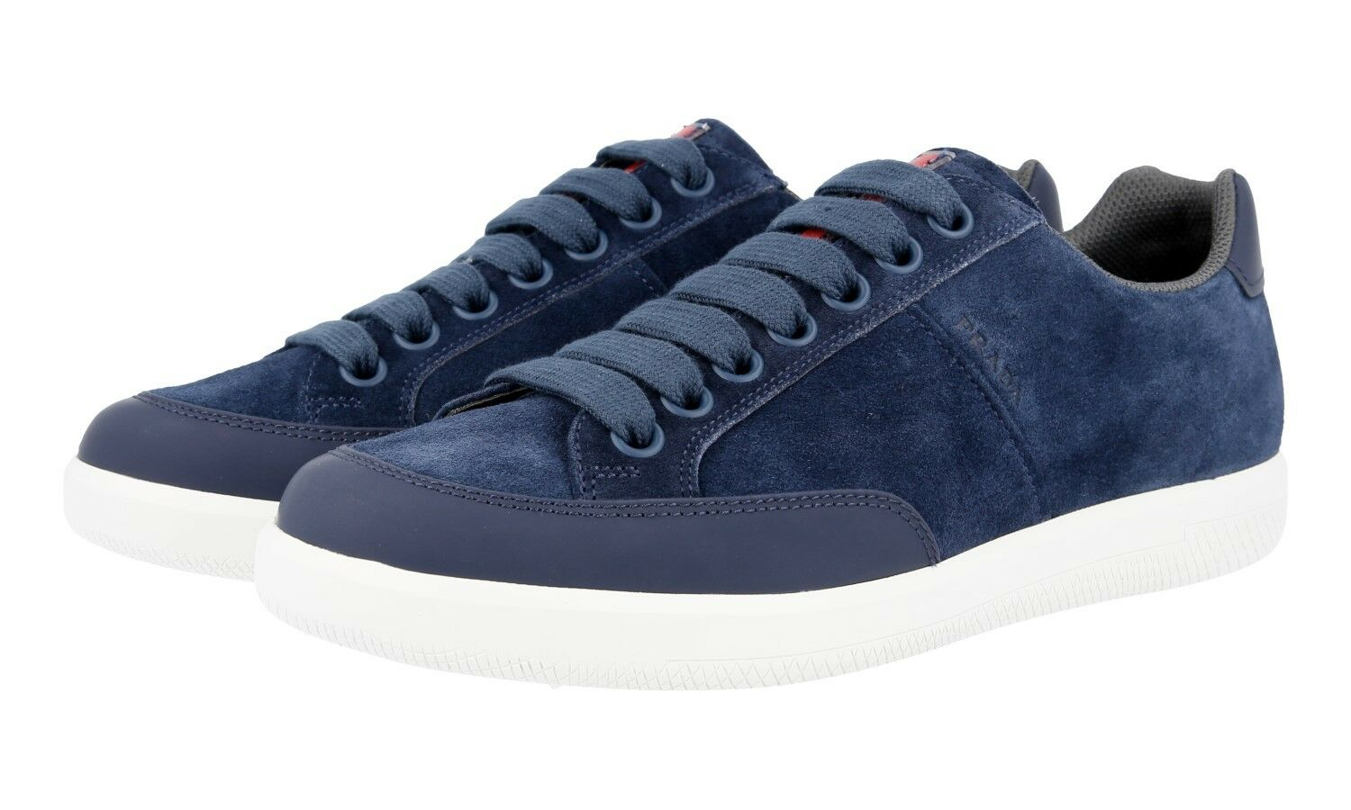 AUTHENTIC PRADA SNEAKERS SCARPE 4E3027 BLU SUEDE NEW US 7 EU 40 40,5