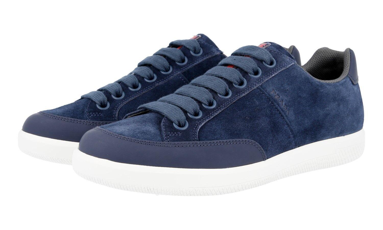 Authentique PRADA Baskets Chaussures 4E3027 Daim Bleu Neuf US 9 EU 42 42,5