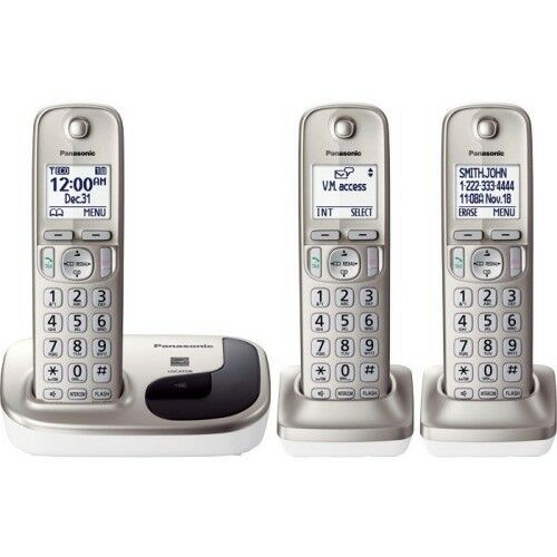 Panasonic Cordless Phone with 3 Handsets KX-TGD213N DECT 6 Expandable Call Block