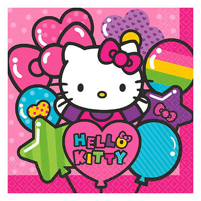 "16 Hello Kitty Rainbow Birthday Party Disposable 6.5"" Paper Lunch Napkins"
