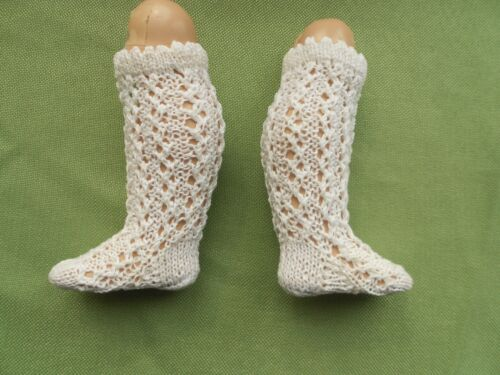 White Doll socks for Antique French /& German doll,100/% Cotton,Handknitted