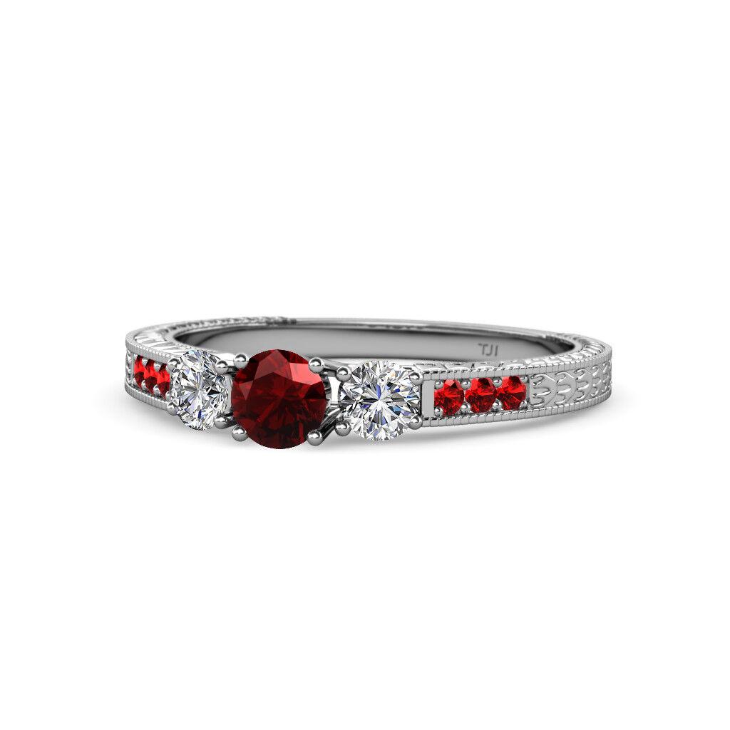 Red Garnet and Diamond Womens 3 Stone Engagement Ring 0.90 ctw 14K gold JP 75200