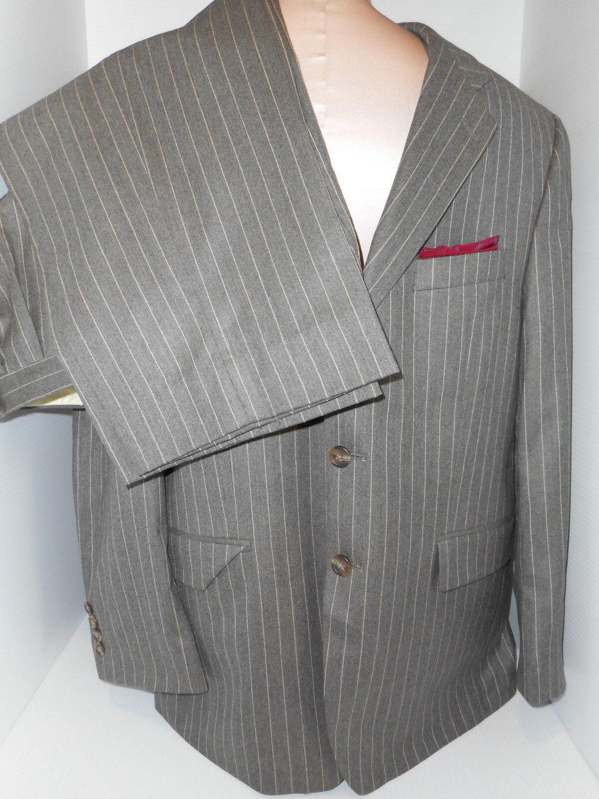 Ralph Lauren  Herren grau Pinstripe Suit Blazer Pants Größe 40S 33/30 Wool Cashmere