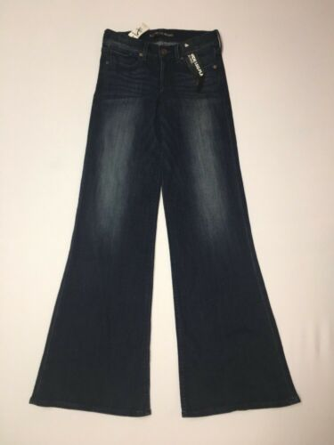 Express Jeans Wide Leg Flare Womens Size 0 Reg Inseam 34 Mid Rise NWT $69.90