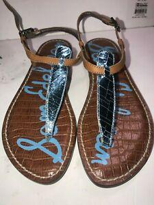9771abe1b NWOT Sam Edelman Women s SZ 5 Blue Gigi Thong Sandals Ankle Strap ...