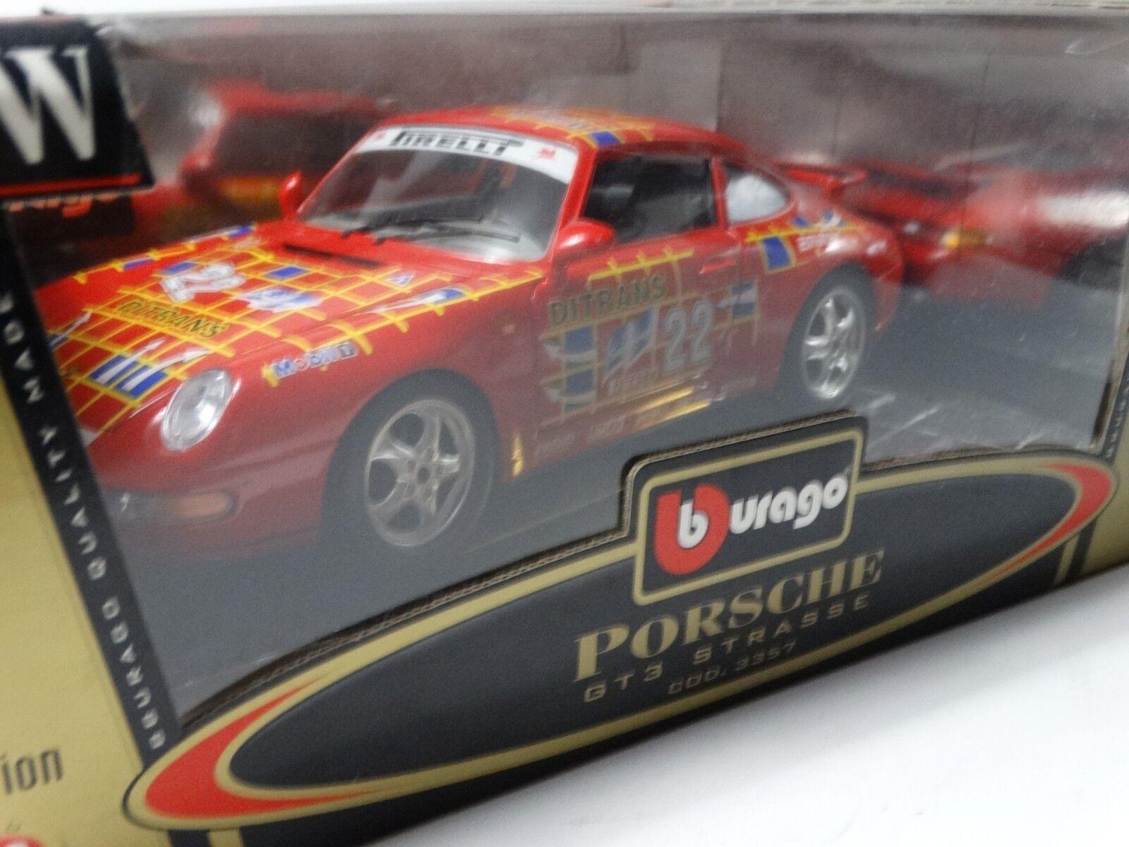 Bburago Porsche 911 996 GT3 Strauss Cup Carrera Coupe 1 1 1 18 Scale Diecast Car Red a2f46e