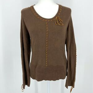 VINTAGE Dillard's Pullover Brown Sweater With Leather Trim & Long Sleeves