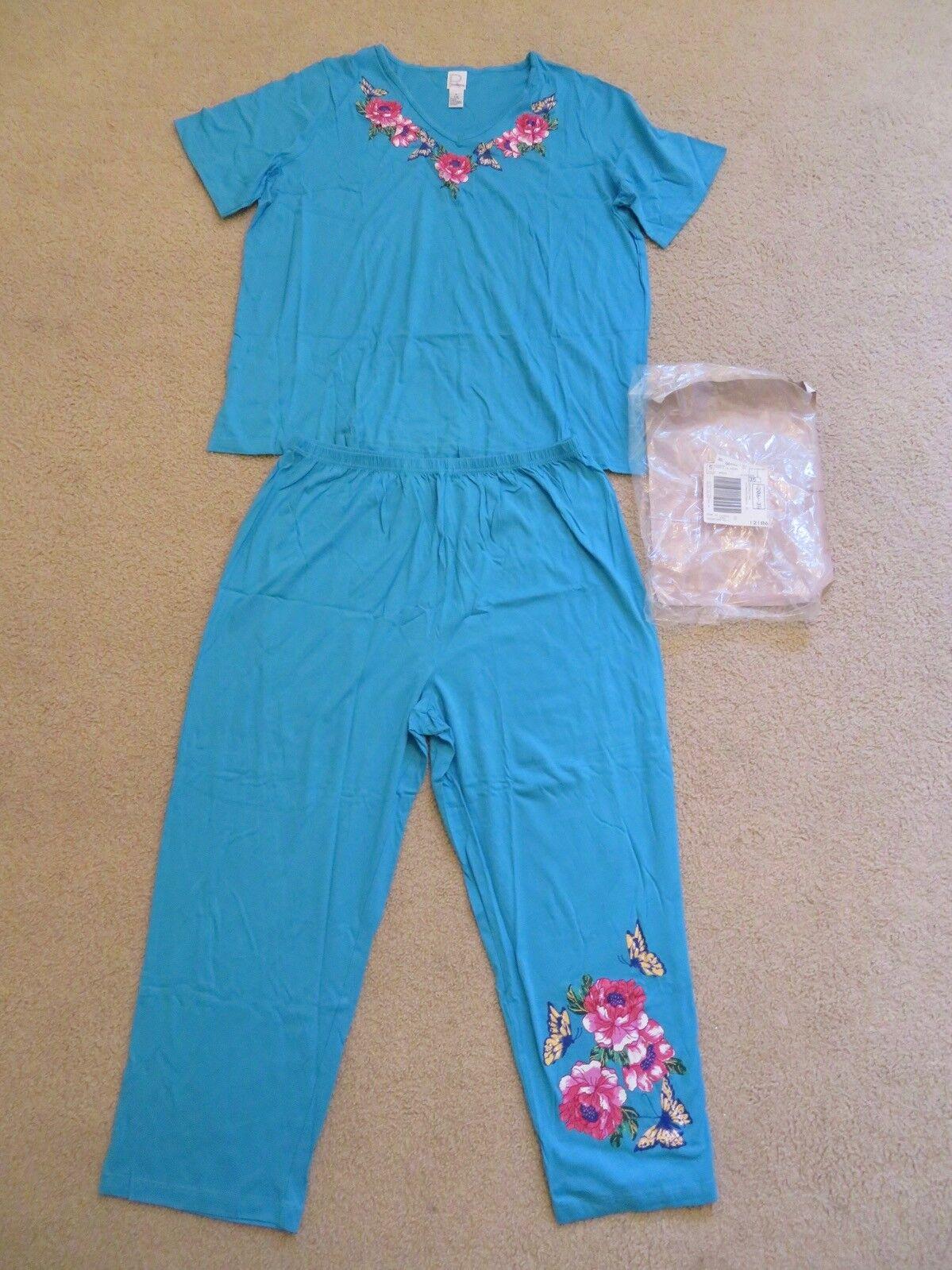 Nuovo da Donna Roaman's 2pc Set Camicia & Pantaloni Blu Turchese Farfalla