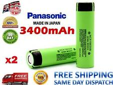 2x GENUINE PANASONIC 3400mAh NCR 18650 Li-ion 3.7V Rechargeable Battery Flat Top
