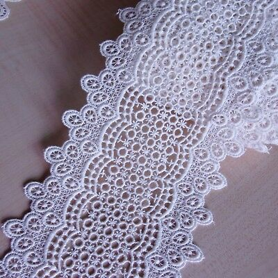 """1Yd 4.3/"""" Antique Style Little Floral Scalloped Cotton Crochet Lace Trim 11cm"""