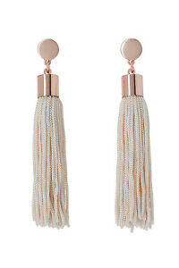 NEW-Basque-A69075BA-Femme-Metal-Disc-And-Tassel-Pendant-Earrings-Rose