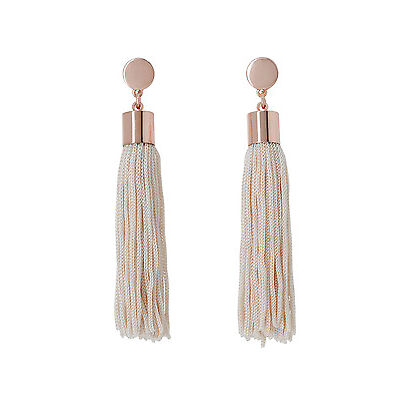 NEW Basque A69075BA Femme  Metal Disc And Tassel Pendant Earrings Rose