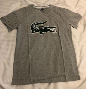 Lacoste-Classic-Croc-T-Shirt-White-Grey-amp-Blue-S-M-L