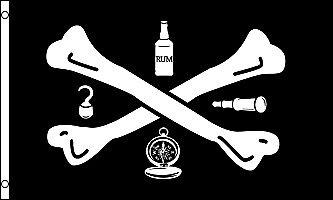 Tools of Trader Crossbones Bottle Hook Compass Telescope 3x5 Polyester Flag