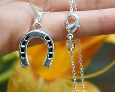 .925 Sterling Silver NECKLACE Horseshoe Pendant Horse Pony Lover Hoof Print Gift