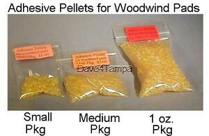 Adhesive pellets MED pkg/ repair replace flute oboe clarinet sax, etc. pads