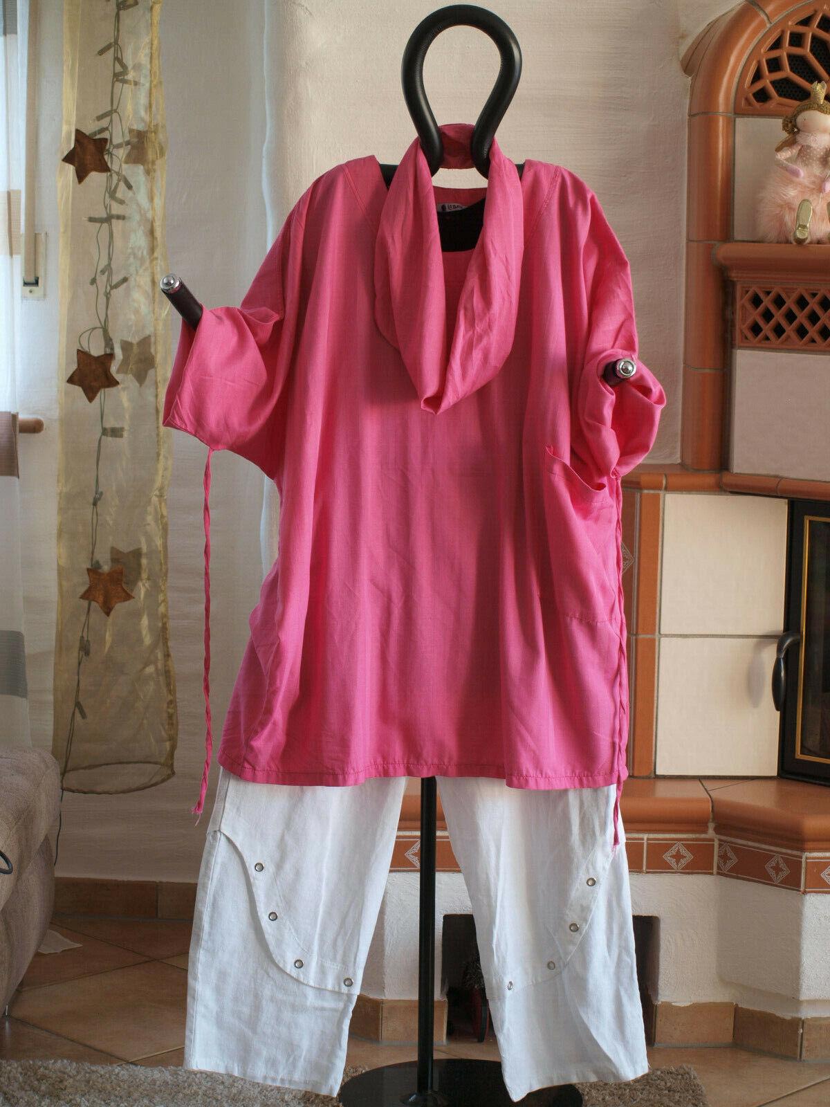 1951 LaBass Lagenlook COTONE MAGLIETTA CON SCIARPA STRIPES rosa tinta CE