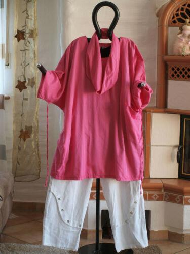 con es righe in strisce di cotone a ad Labass sciarpa 1951 Camicia Lagenlook rosa SqUwnUpOX