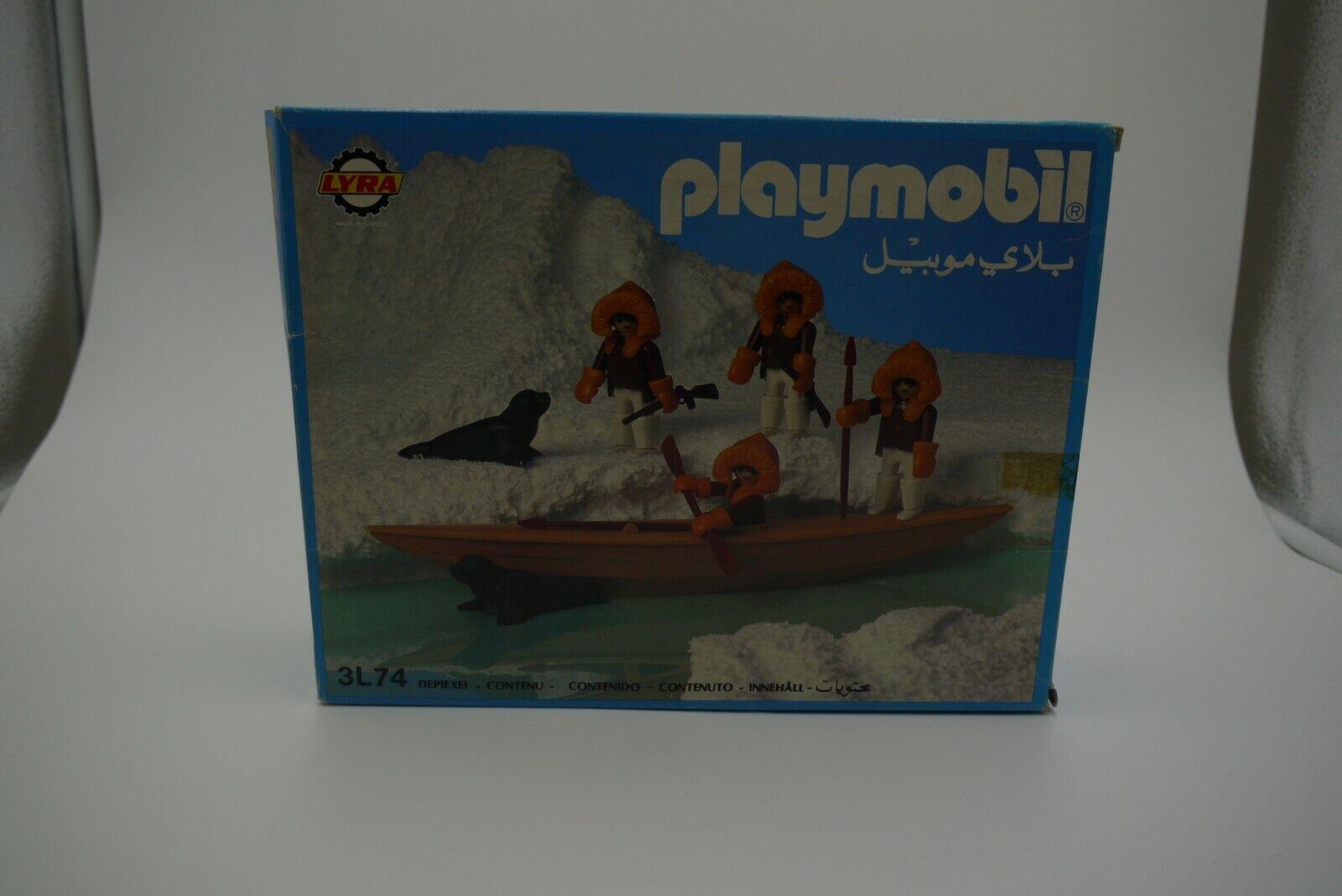 PLAYMOBIL 3L74 GREEK LYRA ESKIMO HUNTERS KAYAK CANOE FIGURE SET MIB