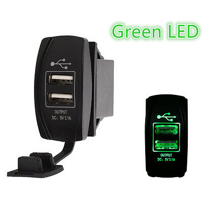 Green Dual Port USB Outlet phone Charger Truck Sand Rail Car Buggy UTV Tractor