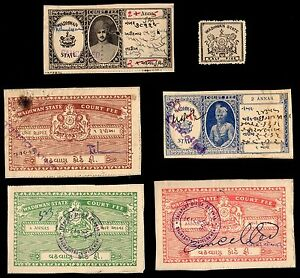 6 WADHWAN (INDIAN STATE) Stamps