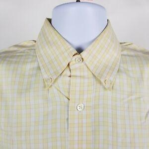 Brooks-Brother-Country-Club-Mens-Yellow-Check-Dress-Button-Shirt-Sz-Medium-M