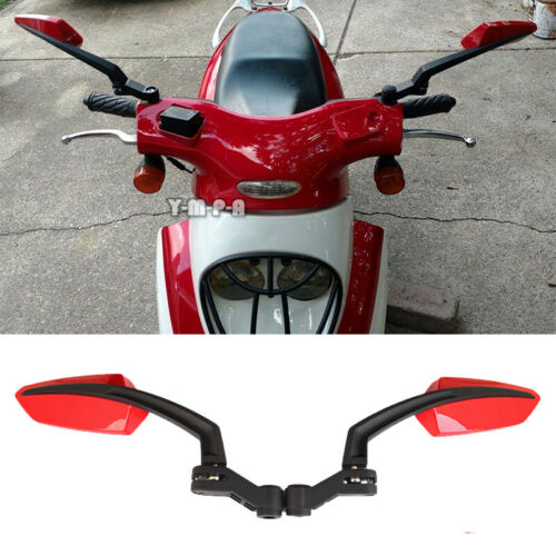 UNIVERSAL MOTORCYCLE RED REAR VIEW MIRRORS FOR CRUISER CHOOPER SCOOTER 8MM-10MM
