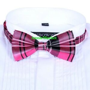49317539eead42 1 x mens girls ladies silk bow tie bowtie necktie party pink tartan ...