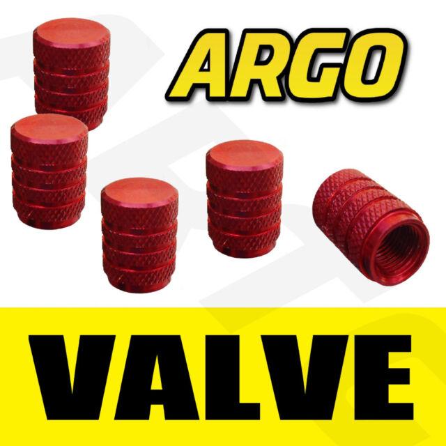 RED CHROME VALVE TYRE DUST WHEEL CAPS FIAT 500 POP ABARTH
